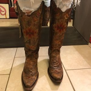 Corral Womens Southwest Tall Top Cowboy Boots